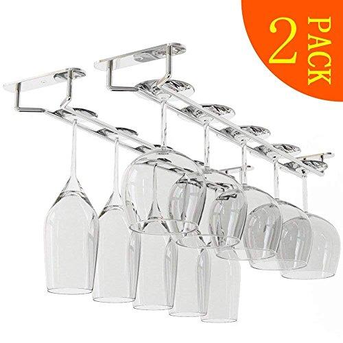 newthinking Wine Cup Rack -14-inch Wein Glas Rack–Edelstahl Chrom unter Schrank Weinregal Glas...