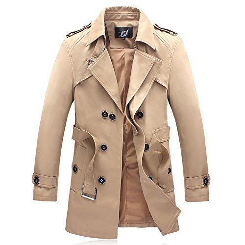 bishe Herren Casual Herbst Zweireiher mit Gürtel Overcoat Trench Coat Jacken, Trenchcoat, Grün, BiSHE2 Jungen Khaki Trench Coat