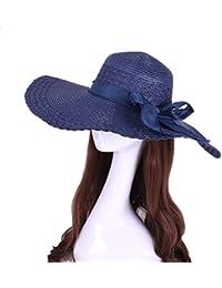 Dayiss@ Sommer Damen Anti-UV Strand Hut Große Krempe Sonnenschutzhut Draußen Sommerhut mit Schleife