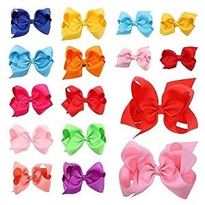 Haarschleifen Mädchen, farbige Grosgrain Haarschleife Knoten Haarspange Set Geschenk für Kinder mit 16 Stück