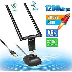Letmetry Clé WiFi 1200Mpbs Adaptateur USB 3.0 WiFi Dongle sans Fil AC Double Bande 5G 867Mbps+2.4G 300Mbps Réseau Antennes pour 7/8/10 XP Vista Mac OSX Linux