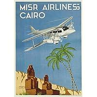 Vintage Travel EGYPT - Póster para coche con aerolíneas de 250 g/m², tarjeta de arte brillante A3