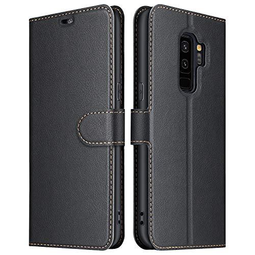 ELESNOW Hülle für Samsung Galaxy S9 Plus, Premium Leder Flip Wallet Schutzhülle Tasche Handyhülle für Samsung Galaxy S9 Plus (Schwarz)