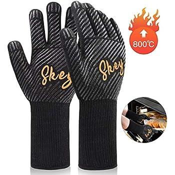imrusan Grillhandschuhe bis zu 1472/°F 800/°C Mit EN407 Zertifizierung Topfhandschuhe rutschfeste mit Silikon Kochhandschuhe Hitzeschutzhandschuhe Ofenhandschuhe Hitzebest/ändig mit Unterarmschutz