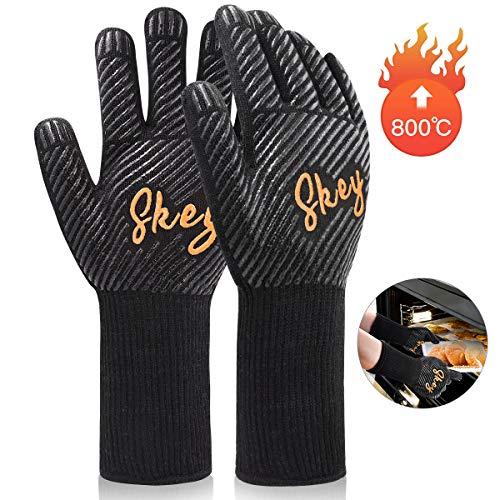 SKEY Grillhandschuhe Ofenhandschuhe Grill Handschuhe zubehör Hitzebeständige bis zu 800 ° C Universalgröße Kochhandschuhe Backhandschuhe für BBQ Kochen Backen und Schweißen-Klassisch Schwarz
