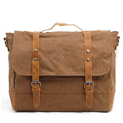 "DRF Borsa Messenger in Tela Vintage Stile per PC portatili 15"" #BG-213 (Marrone)"