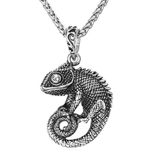 U7 Edelstahl Echsen Chamäleon Chameleon Anhänger Halskette Cool Reptil Schmuck für Männer Herren Biker Rocker, Silber-Ton