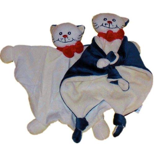 Bieco 05-000100km-x - Schmusetuch Katze Mia , Twin Set, beige dunkelviolett, Schnuffeltuch, Trösterchen
