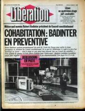 LIBERATION [No 1480] du 20/02/1986 - LIBAN - UN QUATRIEME OTAGE JUIF EXECUTE - ELIE HALLAK - MITTERRAND NOMME ROBERT BADINTER PRESIDENT DU CONSEIL CONSTITUTIONNEL - BERLUSCONI EN PISTE. par Collectif