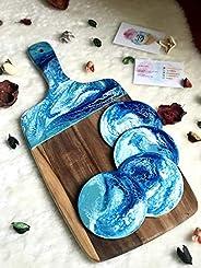 Tagliere Con Effetto Marmo Resina Blu, Turchese & Bianco 42 o 3
