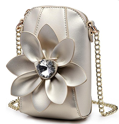 HYLM Damen Mini Taschen Handy Taschen Ketten Strass Blumen Schultertasche / Messenger Münze Geldbörse champagne