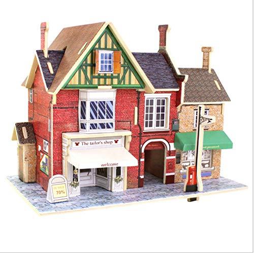 GUHUA Puppenhaus Miniatur Haus DIY House Modell, Puppenhaus Bausatz Holz Modell Set Creative Geburtstagsgeschenke für Mädchen Britisches Bekleidungsgeschäft