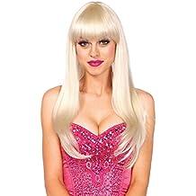 Leg avenue - Tamaño larga negro peluca de pelo rubio platino