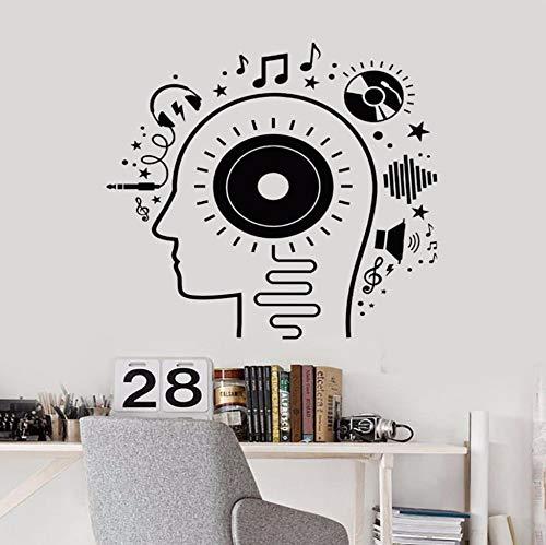 Qhrdp Vinyl Wandtattoo Musik Kopf Liebhaber Kopfhörer Melodie Aufkleber Jugendliche Jungen Raum Kunst Wandaufkleber Ausgangsdekor Diy Tapeten 56X57 Cm