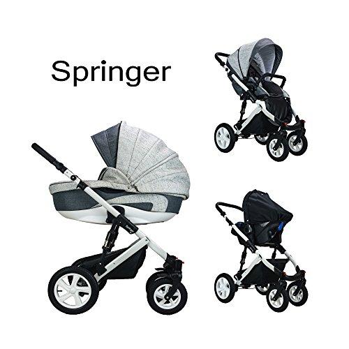Springer CityPlus | Kinderwagen 3 in 1 Kombikinderwagen | Luftreifen | (Monaco)