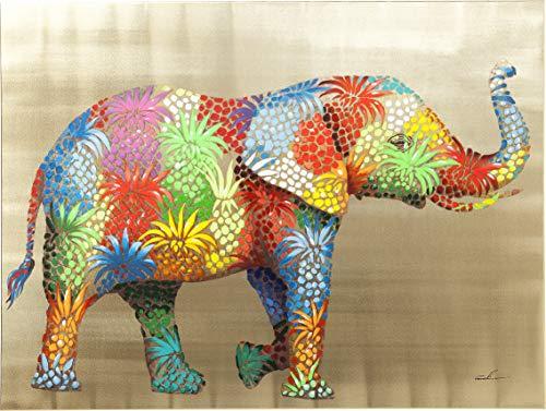 Kare Design Bild Touched Flower Elefant, XXL Leinwandbild auf Keilrahmen, Wanddekoration mit Elefanten, bunt (H/B/T) 90x120x4cm (Bilder Von Einem T)