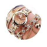 SSDONG Mode Uhr Kreis Damenuhr Explosion Gürtel Diamantkette, Beige Rose Gold Farbe Silber Farbe Quarz Handgelenk