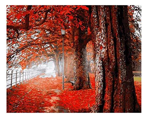 CJGD DIY Herbst Street View Landschaft Hause 5D Diamant Malerei Kreuzstich Diamant Stickmusterdekorativestrassmosaik Handwerk, 45 * 95 cm