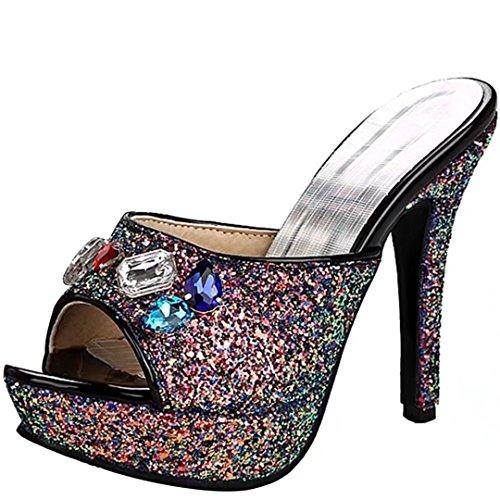 AIYOUMEI Damen Peep Toe High Heels Plateau Pantoletten mit Strass Bequem Modern Stiletto Sandalen Schuhe  38 EUBeige