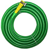 "TechnoCrafts PVC Braided Hose For Floor Care 15 Meter (50 Feet) 3/4"" (0.75 Inch Or 19mm) Bore Size - 3 Layered Hose Pipe With 1"" Tap Connector & Butterfly Clamps"