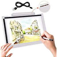 【New Design】 Genround light box USB or Battery Powered, A4 Drawing Tracing Light Board, with 3-Level Brightness, Centimeter and Inch Scale for Artist, Sketching, Copy, Diamond Painting etc(No Battery)