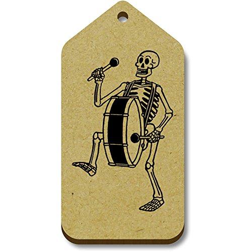 Azeeda 10 x \'Skelett mit Bassdrum\' 66mm x 34mm Hölzerne Tags