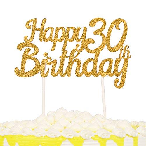 PALASASA einseitig Glitzer Happy Birthday Kuchen Topper Dekorationen Werkzeug Party Supplies (30. Gold) (Halloween Kuchen Topper Essbare)