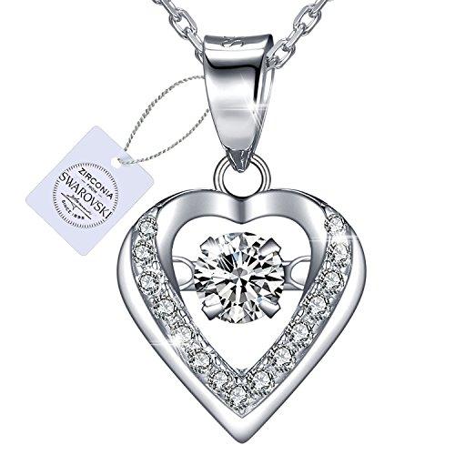 """VEECANS Collar Mujer Sparkling""""Dance Heart"""" en Plata S925 con Colgante de Corazón Bailarín hecho de Circonita Swarovski, Extensión 40+5cm, Regalo para el Día de San Valentín Día de la Madre"""