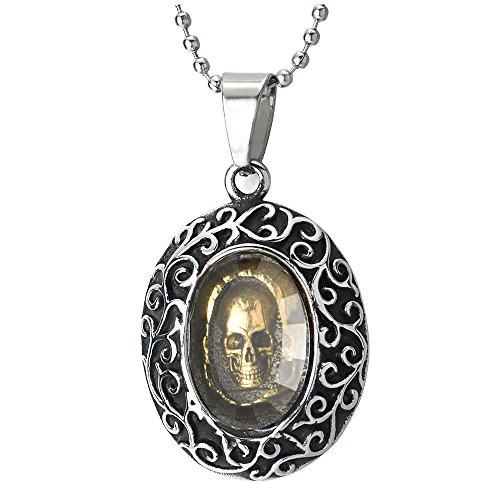 COOLSTEELANDBEYOND Hombre Mujer Gótico Vintage Calavera Cráneo Oval Medalla Collar Colgante con Piedras, Acero, Bola Cadena 75CM