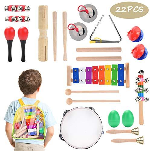 Herefun Musikinstrumente Kinder Set, 22 Stück Holzspielzeug Musical Percussion Instrumente Set Schlagzeug Früherziehung Musik Kinderspielzeug