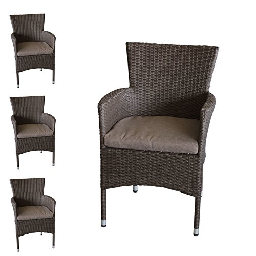 4x Polyrattan Sessel stapelbar Rattansessel braun-meliert inklusive Sitzkissen Gartensessel Stapelstuhl Gartenstuhl Rattanstuhl Rattansessel Terrassenmöbel Balkonmöbel Gartenmöbel