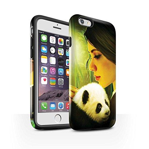 Officiel Elena Dudina Coque / Brillant Robuste Antichoc Etui pour Apple iPhone 6 / Félins/Léopard/Guerrier Design / Les Animaux Collection Petit Panda/Bambou