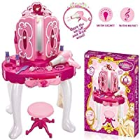 Rexco FS802 Deluxe Girls Pink Musical Dressing Table Vanity Light Mirror Play Set Toy Glamour Make Up Desk with Stool