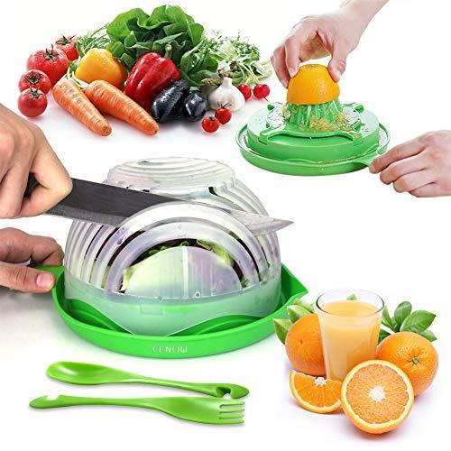 Salad Cutter Bowl, Spremiagrumi Manuale Taglia Insalata Food Grade Taglia Verdura ABS Conveniente per Tritare Insalata, Frutta, 60 Secondo Insalata Chopper Sano Cibo Maker