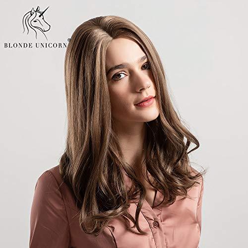 CXQBlonde Unicornio 14 pulgadas onda natural sintética peluca de pelo Lado de separación del hombro...