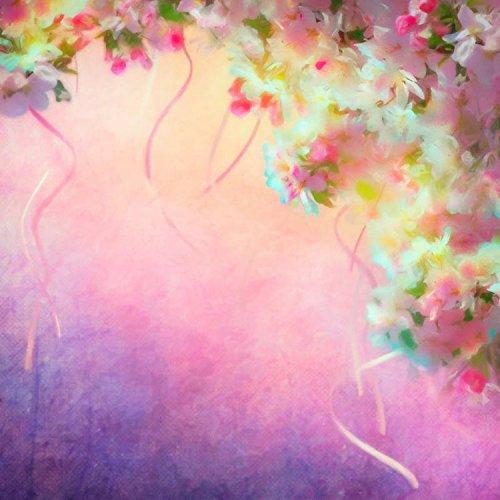 Mehr 5x 2,1Vinyl Digital Mädchen rosa pink Blumen Bänder Fotografie Studio Hintergrund