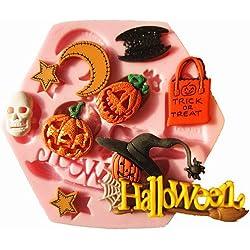 Europe Silicone Mold Maker - Molde de silicona para fondant, diseño de Halloween Categoría: calabaza, Halloween