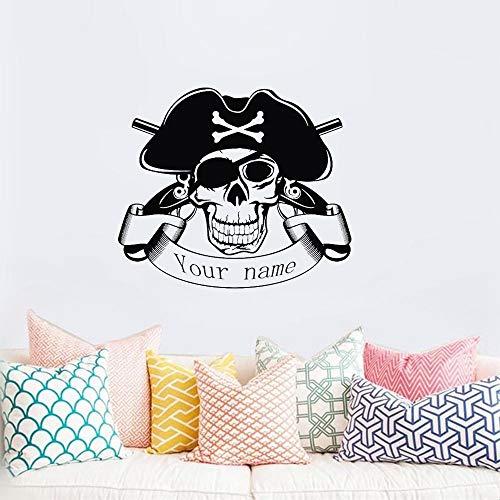 Wandaufkleber Kinderzimmer Schädel Halloween Pirat Pistole Aufkleber Punk Tod Aufkleber Teufel Poster Name Autofenster Kunst Dekor Wandbild (Halloween Piraten Sprüche)