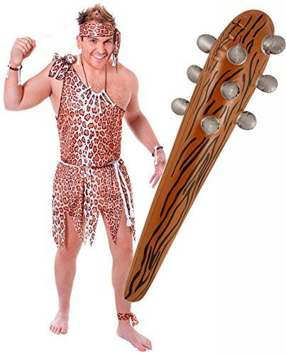 Tarzan Caveman Outfit mit Kostüm aufblasbaren (Kostüme Mens Caveman)
