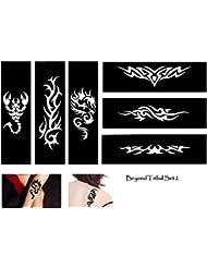 Tribal Dragon Scorpion Tattoo pochoirs modèles 6Sheet Lot de 2