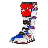 O'Neal Rider Boot MX Cross Stiefel Blau Rot Weiß Motorrad Enduro Motocross Offroad, 0329-7, Größe 48