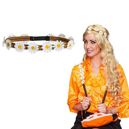 Hippie Haarband 70er Jahre Blumenkranz Flower Power Stirnband Margeriten Haarschmuck Gänseblümchen Kopfschmuck Blumen Haar Schmuck Karnevalskostüme Accessoires