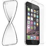 Schutzhülle und Glasfolie als Set für Apple iPhone SE / 5 / 5S TPU Case Silikon Hülle Schutz Cover Transparent mit Panzerglas Schutzfolie Glasfolie