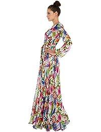 RENQINGLIN Sello De Flores Tropicales Con Cuello En V Manga Linterna Plisado Vestido Grande Hembra