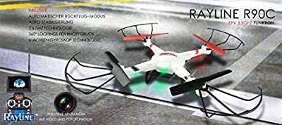 Rayline-NCC RC Quadrocopter R90 Men's FPV Transmission 2.4 GHZ Drone with Additional, Automatic Return Function by NCC GMBH