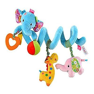 Singring Baby Pram Crib Cute Blue Elephant Design Activity Spiral Plush Toys, Stroller and Travel Activity Toy