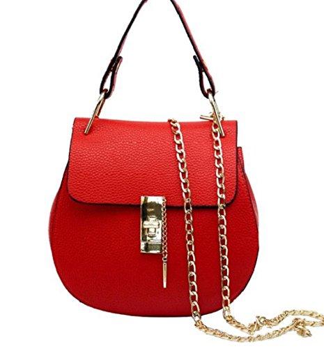 Tongshi süße große PU Leder Tote Schultertasche Handtasche Damen Messenger Kette plaid (rot) (Leder Tri-fold Handtasche)