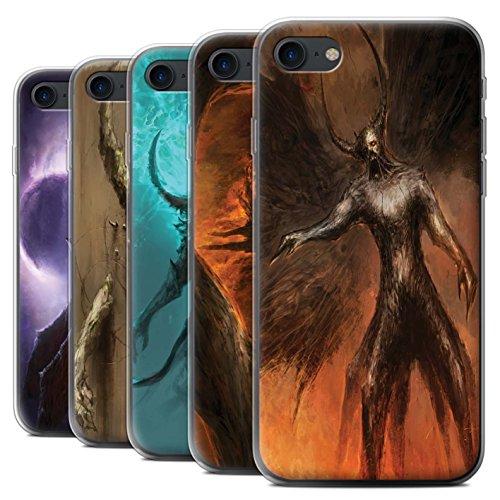 Offiziell Chris Cold Hülle / Gel TPU Case für Apple iPhone 7 / Der Anrufer Muster / Dunkle Kunst Dämon Kollektion Pack 10pcs