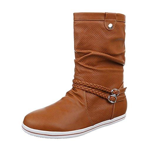 Damen Schuhe, 525, STIEFEL PERFORIERTE BOOTS Camel