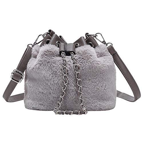 27ab90caf090 H-M-STUDIO Bag 2018 New Fashion Chain Slanting Bucket Lovely Lovable Bag  Gray 17 * 15 * 12Cm